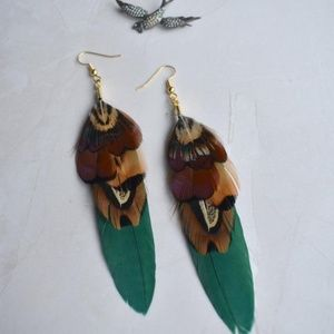 Jewelry - Handmade Green & Copper Pheasant Feather Earrings